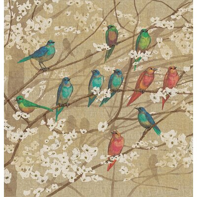 Summer Birds and Blossoms Shower Curtain