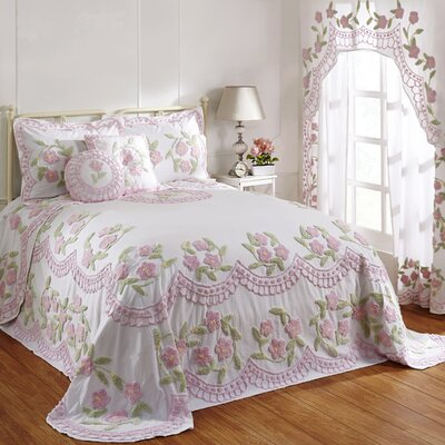 Alburtis Handcrafted Chenille Bedspread Size: Full, Color: Rose