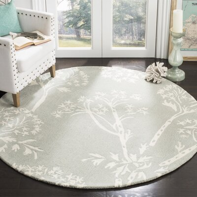 Mandy Hand-Tufted Grey/Ivory Area Rug Rug Size: Round 5
