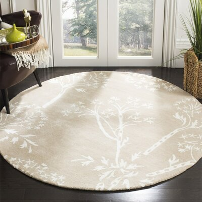 Mandy Hand-Tufted Sand / Ivory Area Rug Rug Size: Round 5