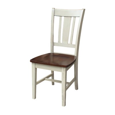 Malcolm Solid Wood Dining Chair Color: Antiqued Almond/Espresso