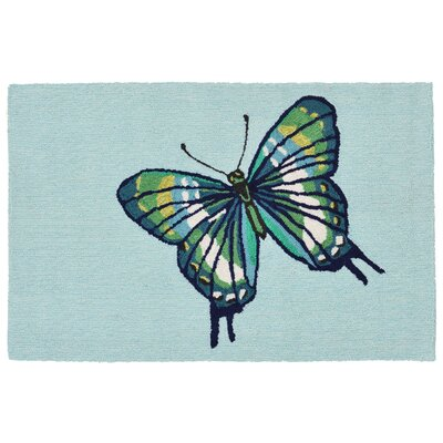 Ismay Butterfly Blue Indoor/Outdoor Area Rug Rug Size: 18 x 26