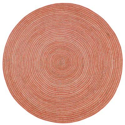 Latour Hand-Loomed Orange Area Rug Rug Size: Round 3