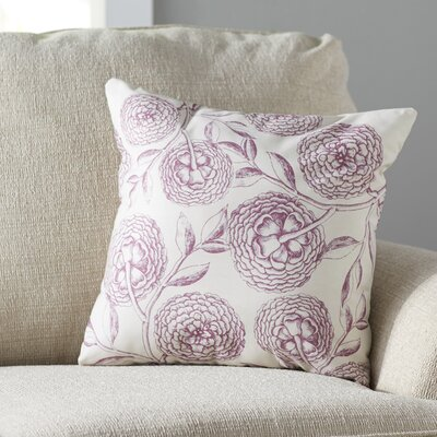 Swan Valley Blooms Antique Flower Throw Pillow Color: Purple, Size: 18 H x 18 W