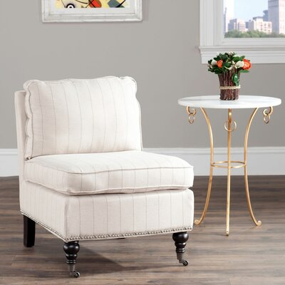Armless Slipper Chair Upholstery: Flax Beige Pinstripe, Nailhead Detail: Yes