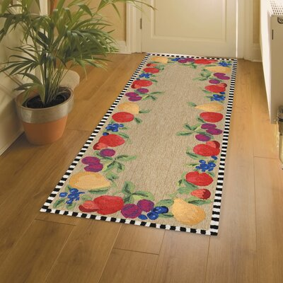 Calderon Fruits Hand-Tufted Beige/Green Indoor/Outdoor Area Rug Rug Size: Runner 23 x 6
