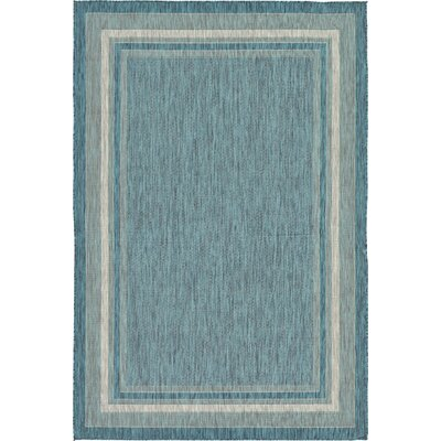 Keira Teal Outdoor Area Rug Rug Size: Rectangle 4' x 6'