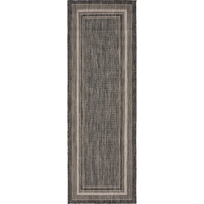 Kennedy Black Outdoor Area Rug Rug Size: Runner 2 x 6