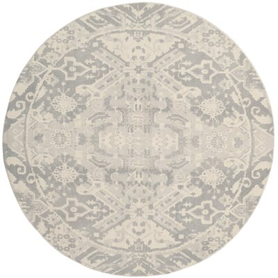 Katy Hand-Tufted Light Gray / Ivory Area Rug Rug Size: Round 6 x 6