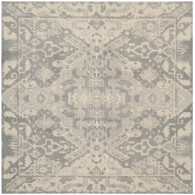 Katy Hand-Tufted Light Gray / Ivory Area Rug Rug Size: Square 6 x 6