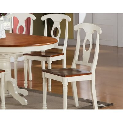 Aimee Side Chair in Wood Seat (Set of 2) Color: Buttermilk and Cherry