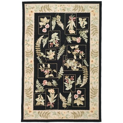 Kinchen Black Ferns Area Rug Rug Size: Rectangle 53 x 83