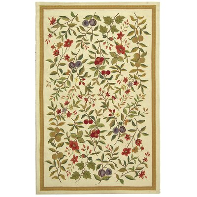 Kinchen Hand-Hooked Wool Ivory/Sage Area Rug Rug Size: Rectangle 53 x 83