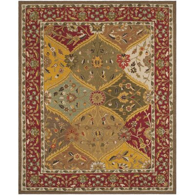 Talmo Hand-Hooked Red/Brown Area Rug Rug Size: Rectangle 8 x 10