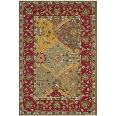 Talmo Hand-Hooked Red/Brown Area Rug Rug Size: Rectangle 4 x 6