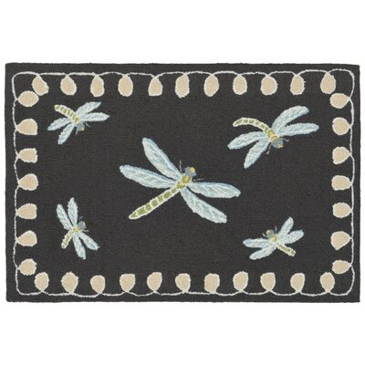 Calderon Dragonfly Hand-Tufted Black Indoor/Outdoor Area Rug Rug Size: 2 x 3