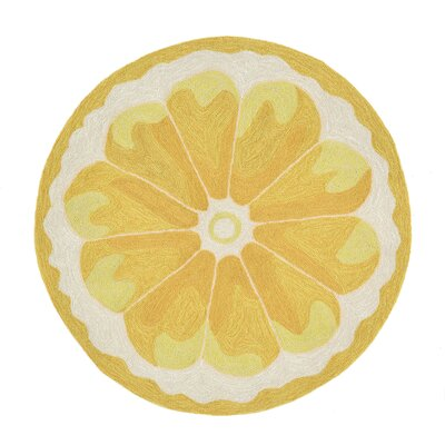 Ismay Hand-Tufted Yellow Indoor/Outdoor Area Rug Rug Size: Round 3