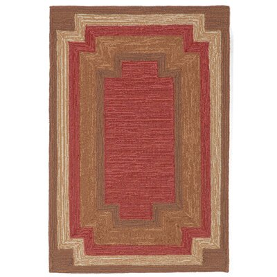 Dazey Red Border Outdoor Rug Rug Size: Rectangle 83 x 116