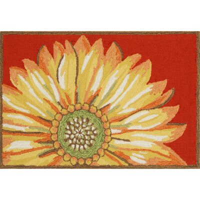 Ismay Sunflower Red Indoor/Outdoor Area Rug Rug Size: 2 x 3