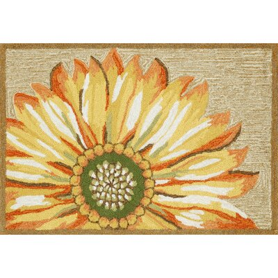 Ismay Gold/Yellow Sunflower Indoor/Outdoor Area Rug Rug Size: Rectangle 2 x 3