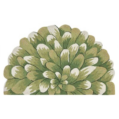 Ismay Hand-Tufted Green Indoor/Outdoor Area Rug Rug Size: Half Circle 18 x 26