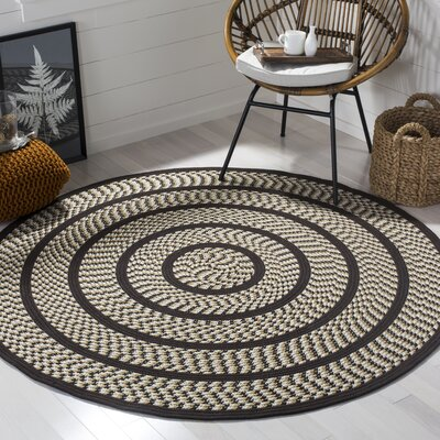 Georgina Ivory/Dark Brown Area Rug Rug Size: Round 6