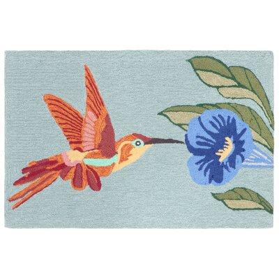 Ismay Hummingbird Blue Indoor/Outdoor Area Rug Rug Size: 26 x 4