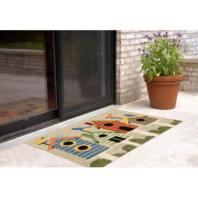Ismay Birdhouses Neutral Indoor/Outdoor Area Rug Rug Size: 26 x 4
