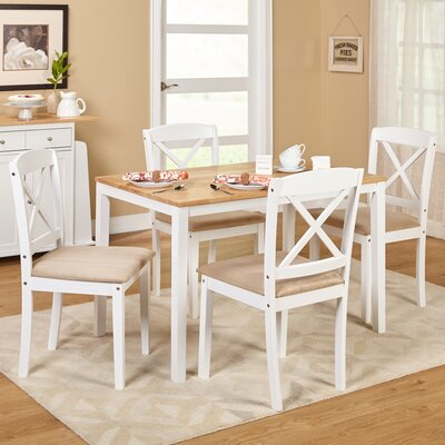 Scarlett 5 Piece Dining Set Color: White