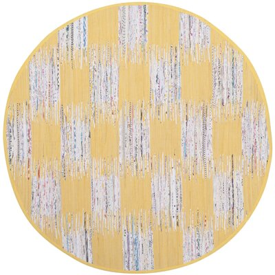 Opie Hand-Woven Yellow/Gray Area Rug Rug Size: Round 6