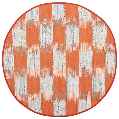 Opie Hand-Woven Orange/Gray Area Rug Rug Size: Round 6