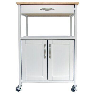 Allie Kitchen Cart with Wood Top Color: White
