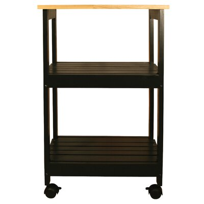 Allie Microwave Kitchen Cart with Butcher Block Top Color: Black
