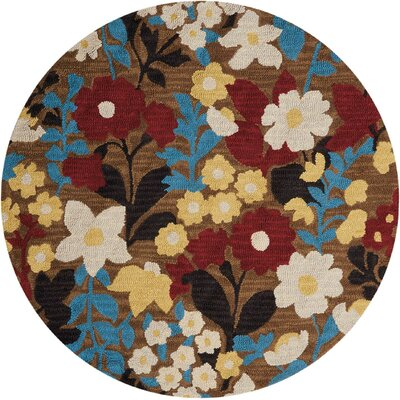 Huetter Hand-Tufted Wool Brown Area Rug Rug Size: Round 46