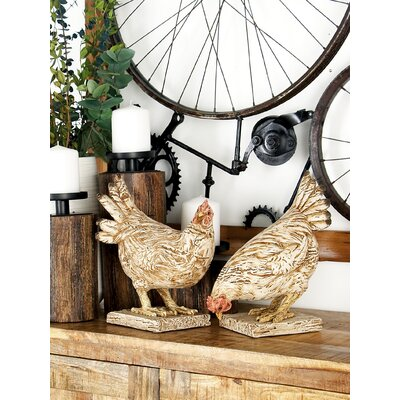 Eagleswood Farmhouse Detailed Chicken Polystone 2 Piece Figurine Set AGTG4079 43154597