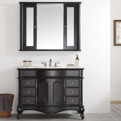 Leflore 48 Single Vanity Set with Mirror Base Finish: Espresso