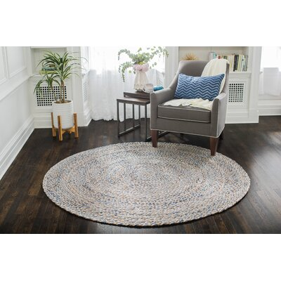 Pennsburg Handmade Gold/Tan/Blue Area Rug Rug Size: Round 4