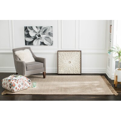 Wilma Hand-Woven Tan/Ivory Area Rug Rug Size: 9 x 12