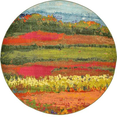 Laurentides Green/Red Area Rug Rug Size: Round 8