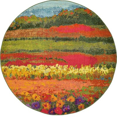 Laurentides Green/Red Area Rug Rug Size: Round 6