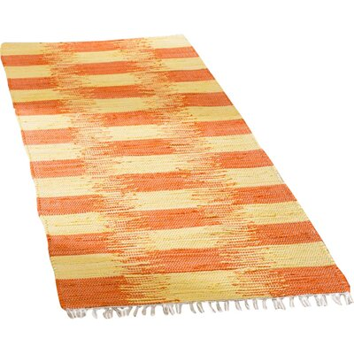 Opie Hand-Woven Orange/Beige Area Rug Rug Size: Runner 23 x 7