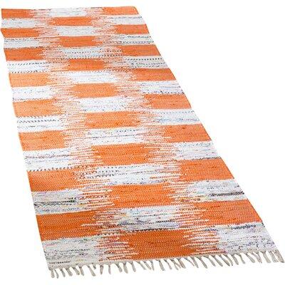 Opie Hand-Woven Orange/Gray Area Rug Rug Size: Runner 23 x 7