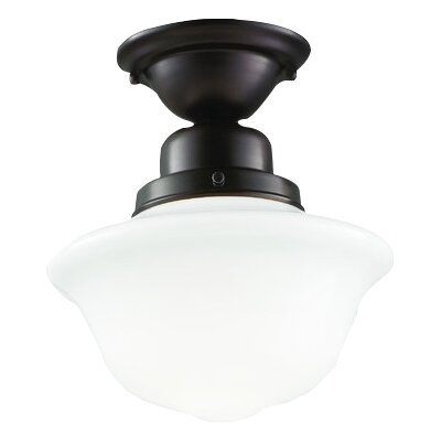 Karen 1-Light Semi Flush Mount Finish: Old Bronze, Size: 10 H x 9 W