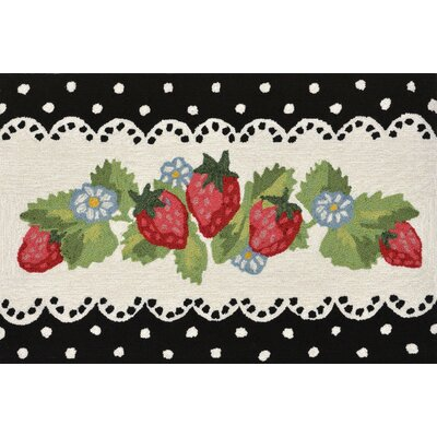 Calderon Strawberries Hand-Tufted Black Indoor/Outdoor Area Rug Rug Size: 2 x 3