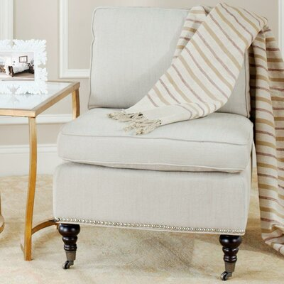 Armless Slipper Chair Upholstery: Off White, Nailhead Detail: Yes
