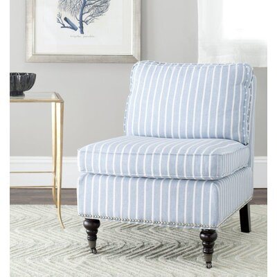 Armless Slipper Chair Upholstery: Blue/White, Nailhead Detail: Yes