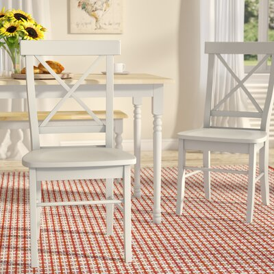 Sawyer Cross Back Solid Wood Dining Chair Color: Linen
