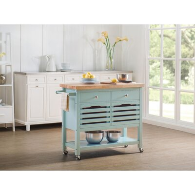 Grenora Kitchen Cart Base Finish: Aqua