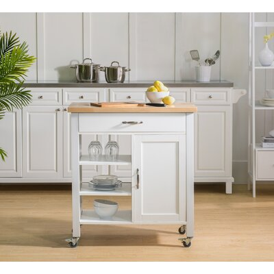Elnora Kitchen Cart Base Finish: White