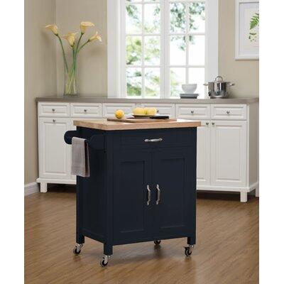 Philomene Contemporary Wood Kitchen Cart Base Finish: Navy